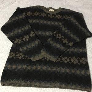 Men's J Crew Wool Sweater Size Large earth tones